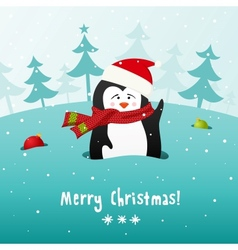 Cute Christmas penguin background vector