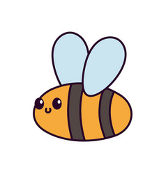 cute flying bee cartoon on white background vector image