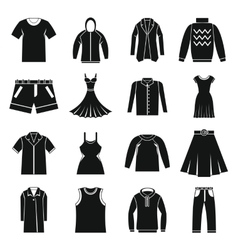 Different clothes icons set simple style vector image
