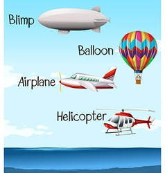 Different types of air crafts vector