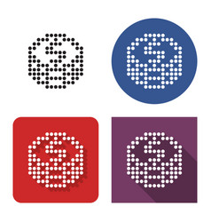 dotted icon coins stack in four variants with vector image
