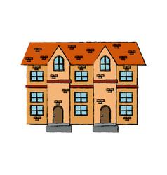 Drawing house brick roof tile windows vector