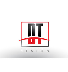 Dt d t logo letters with red and black colors and vector