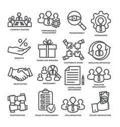 Engagement line icons set on white background vector