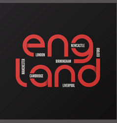 England t-shirt and apparel design vector
