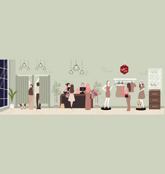 Fashion retail woman buy clothing in commercial vector