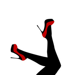 Female legs wearing red shoes with high heels vector