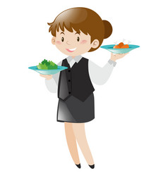 female server serving food vector image