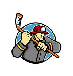 fireman ice hockey mascot vector image