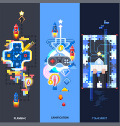 Gamification elements flat banners set vector