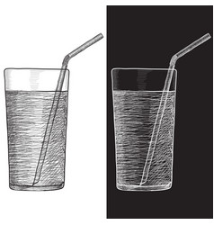 glass water with drinking straw hand drawn vector image