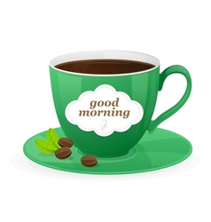 green cup of coffee and text vector image