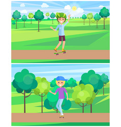 happy teen skating on boards in summer park banner vector image