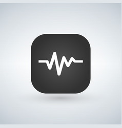 Heart line pulse flat icon over application button vector