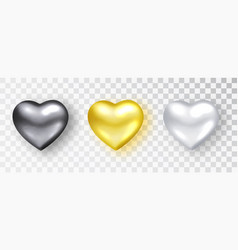 hearts realistic set black gold white hearts vector image
