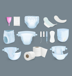 Hygiene products soft and fresh sanitary items vector