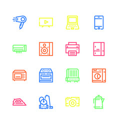 icons of household appliances are flat colored vector image