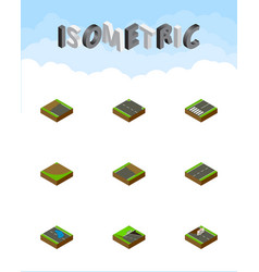 Isometric way set of underground rightward plash vector