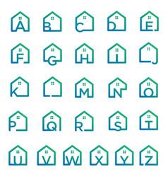 Letter a-z architect home construction creative vector