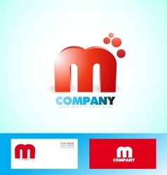 Letter m logo red icon 3d vector