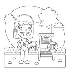 lifeguard coloring page vector image