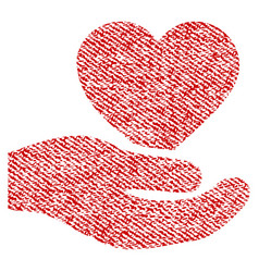 Love heart offer hand fabric textured icon vector