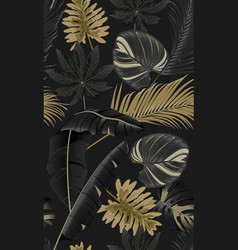 Luxury seamless pattern with tropical leaves on vector