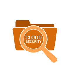 magnifying optical glass with words cloud security vector image