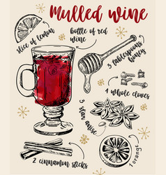 Mulled wine recipe classical winter drink recipe vector