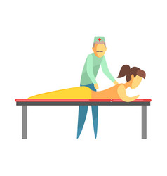 Octor examining back of a young woman lying on vector
