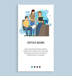 office work people working in team with info vector image