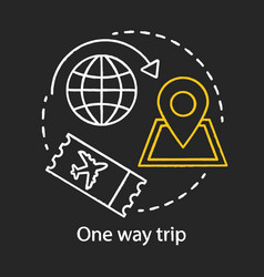 One way trip chalk icon trip vacation tourism vector
