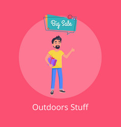 outdoors stuff poster with man holding gift box vector image