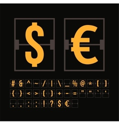 Outline scoreboard symbols flat alphabet vector image