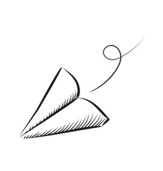 paper plane sketched icon vector image