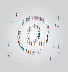 People crowd gathering in email address icon shape vector