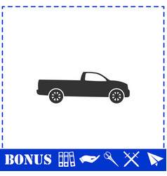 Pickup truck icon flat vector