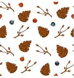 pine cones and berries seamless pattern vector image