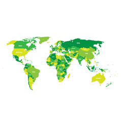 Political map of world in green scheme with vector