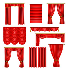 Realistic luxury red curtains set vector