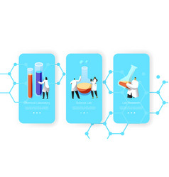 scientist flask with chemical liquid mobile app vector image