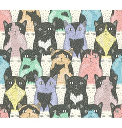 Seamless pattern with cute cats for children vector