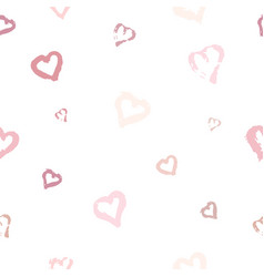 seamless pattern with hand drawn pink heart on vector image