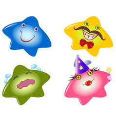 Set of funny smileys in the form stars emotions vector