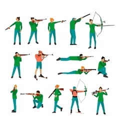 Set of sport shooting positions Design vector
