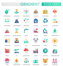 set of trendy flat gradient ecology and vector image