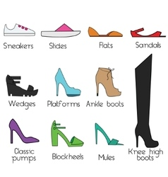 Shoes models for women icons set design vector