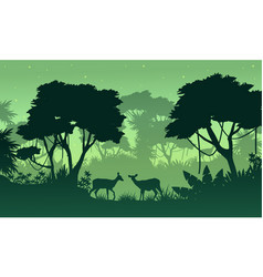 Silhouette of jungle with deer beauty landscape vector