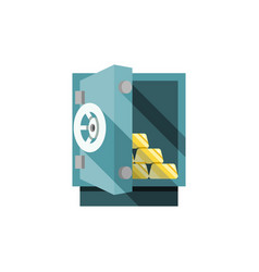 small safe opened with golden bars inside vector image