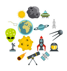 space set flat icons vector image